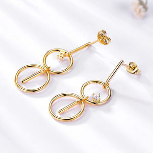 Silver Drop Earrings For Women Yellow Gold Color